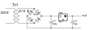 Схема включения стабилизатора 7805